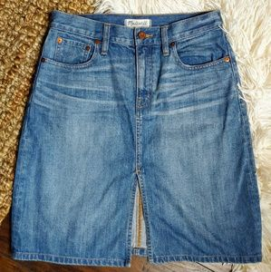 Madewell denim slit skirt